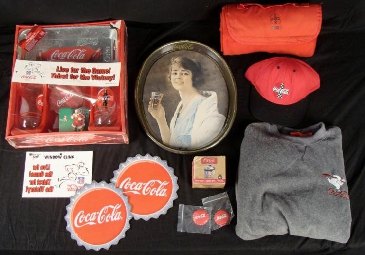 Coca Cola Large Lot Glasses Coasters Classic Hits Pins
