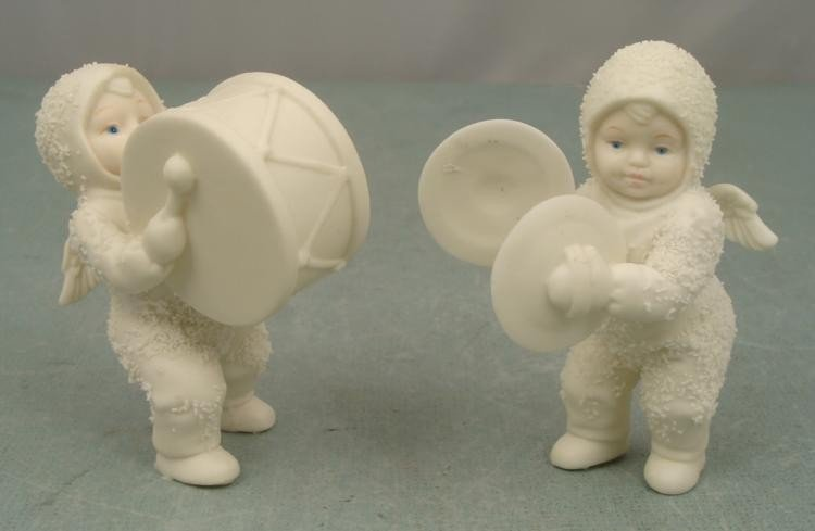 2 Snow Baby Children Figurines Drums Cymbals 4 inches