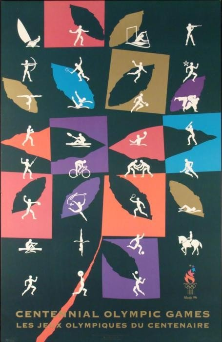Stylish Olympics Centennial Mounted Poster 1996 Atlanta