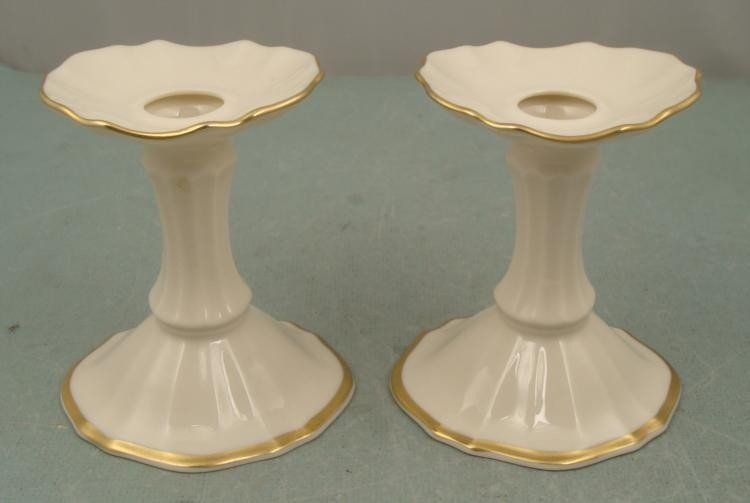 "Lenox Candle Sticks Gold Trim 4"" Tall 3/4 diameter"