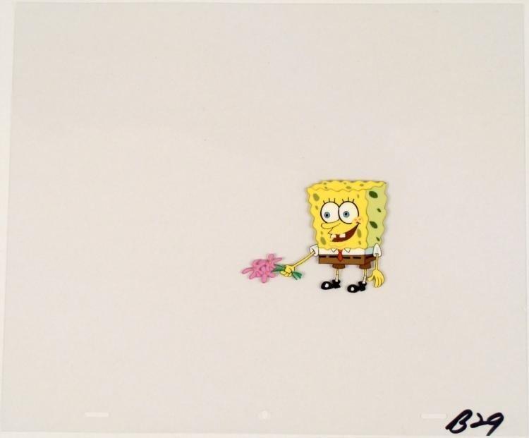 Original Flowers In Hand Production SpongeBob Cel Art