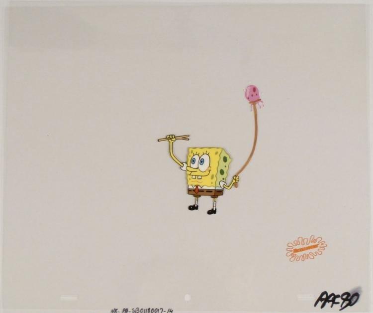 Original SpongeBob Animation Cel Walking the Jellyfish
