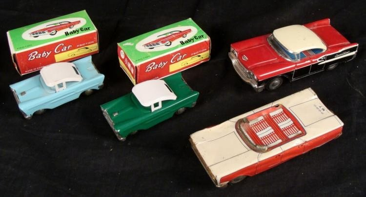 4 Vintage Japanese Tin Friction Cars Japan, China Box
