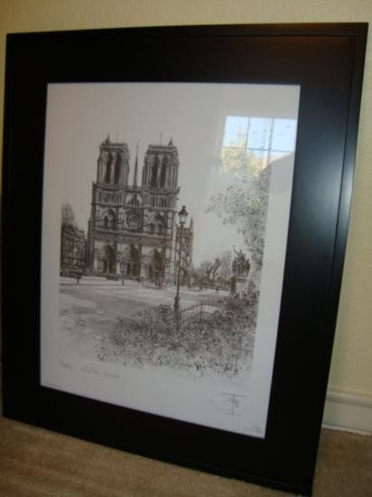 French print Paris Notre Dame Cathedral with frame