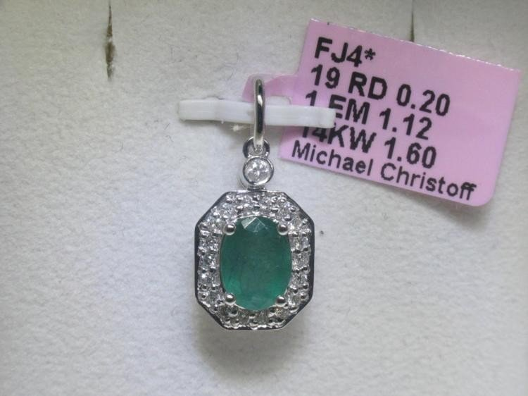 Emerald and .20 ct Diamonds 14K White Gold Pendant