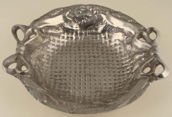 Basket Pattern Pewter Serving Bowl Decorative Dish