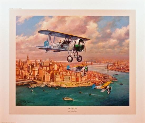 Aviation Art The Fleet's In Young Boeing F4B2 New York