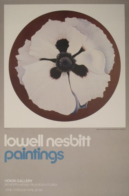 Lowell Nesbitt Art Exhibit Poster Tondo Poppy 1981