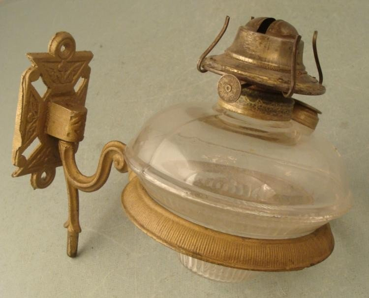 Antique Old Wall Mount Oil Lamp Gold Painted Metal
