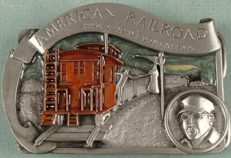 American Railroad Ltd Ed 2 Sided Belt Buckle