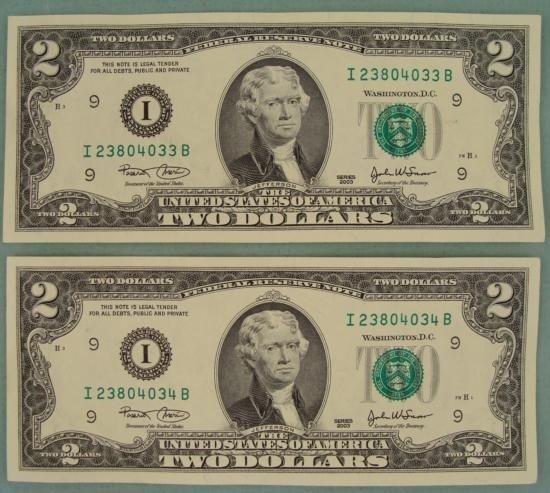 2 Consec # CU 2003 $2 Bills Notes I Mint Minneapolis