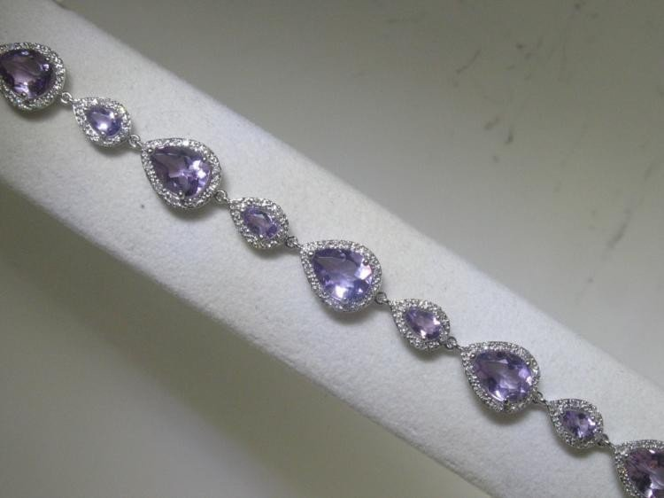 Amethyst and .57 ct Diamonds 14K White Gold Bracelet