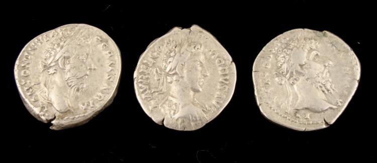 3 Silver Denarius Roman Coins Aurelius, Commodus, Verus