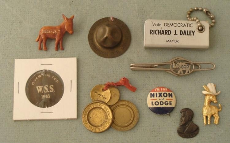9 Early Political Buttons Pins Medals Promos 1872-