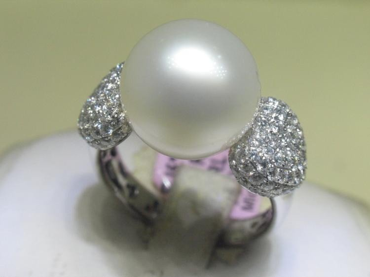 SouthSea Pearl and Diamonds 18K White Gold Ring