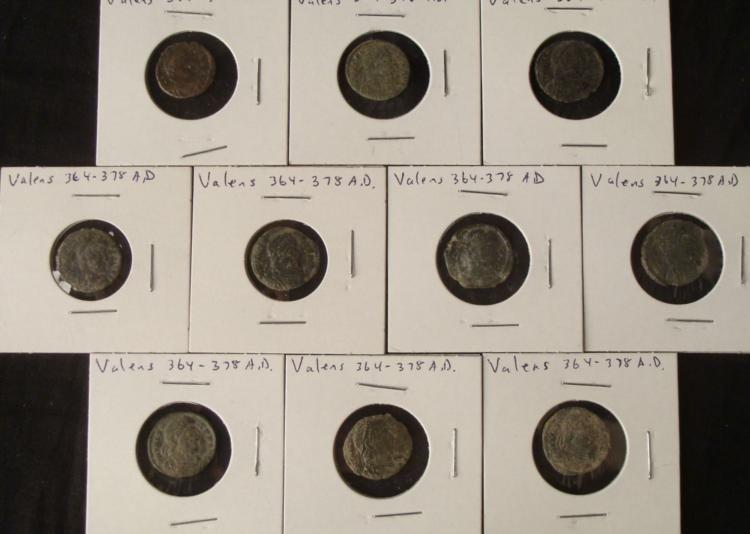 10 Diff Ancient Constans 337-350 A.D. Roman Coins
