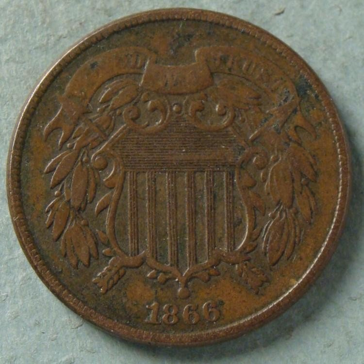 1866 Very High Grade 2 Cent Coin -Great Detail