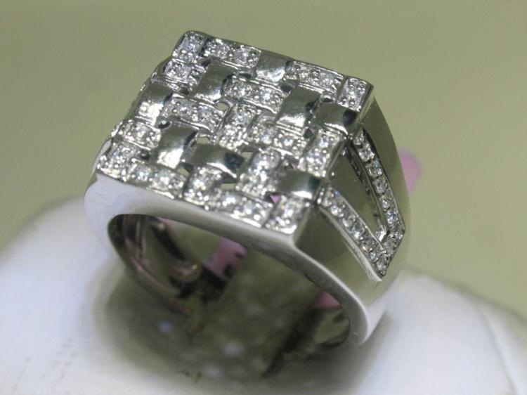 All Diamond Men's Ring .55 ct 14K White Gold