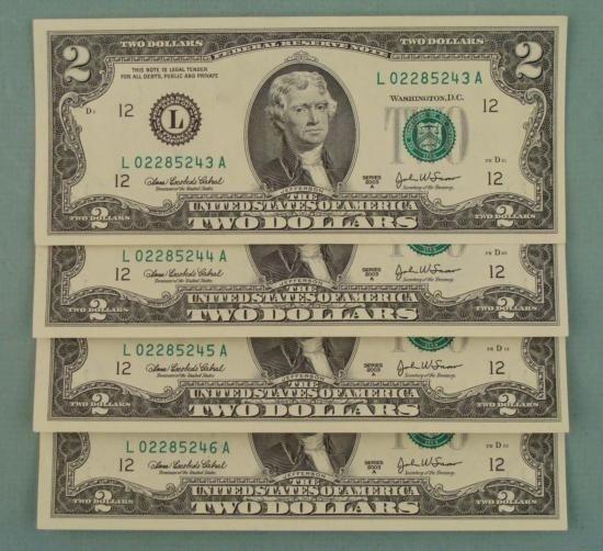 4 Consec # CU 2003A $2 Bills Notes L Mint San Francisco