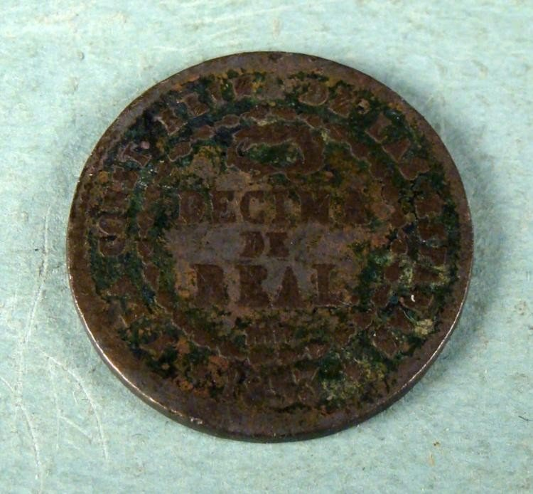 Spain 1853 1/10 Reale Copper Coin