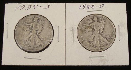 1934-S & 1942-D Walking Liberty Silver Half Dollars