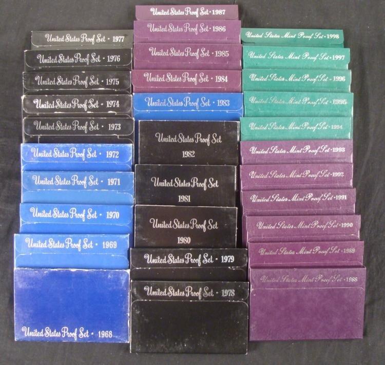 31 US Mint Proof Sets in Original Boxes 1968-1998