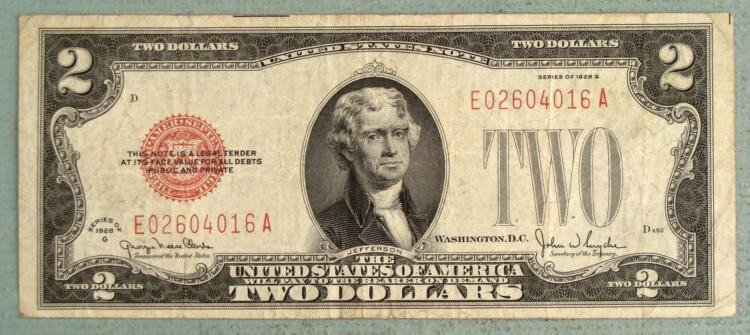 Series of 1928 G $2 Bill United States Note Red Seal
