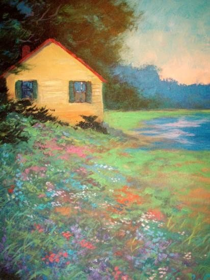 Cabin By The Lake by Schofield-Original Oil 20x24