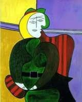 The Red Armchair by Picasso Giclee Numbered On Canvas