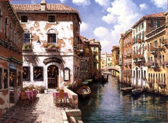 Venetial Canal By Marks Giclee S/N 24 x32