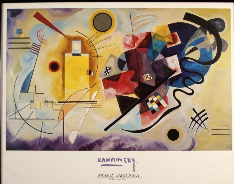 Wassily Kandinsky Art Poster Yellow Red Blue Framed