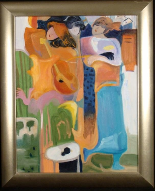 Kerstein Original Painting Elegant Women Music Framed