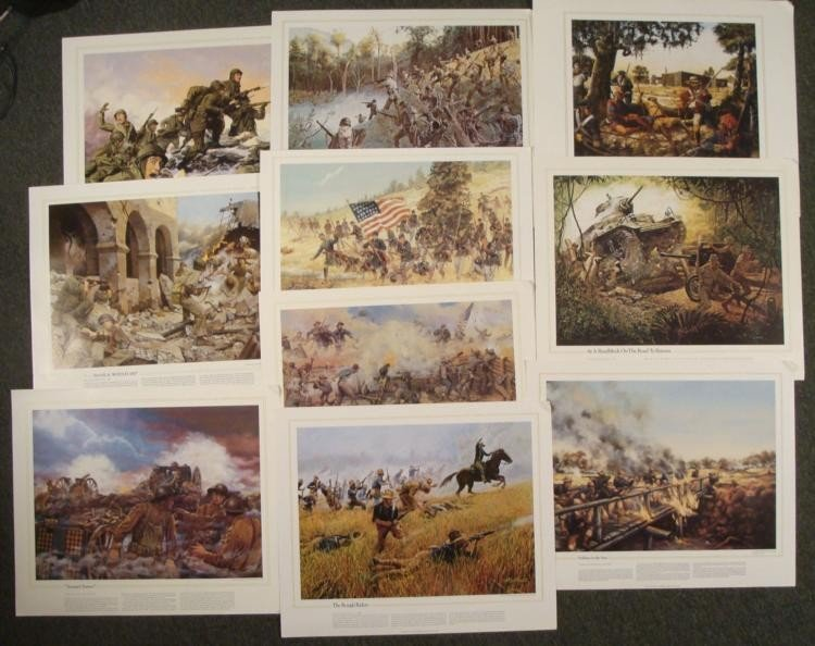 10 National Guard Heritage US Military Art Prints Lot