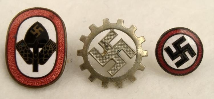 3 ORIGINAL NAZI INSIGNIA PINS RAD DAF SWASTIKA BADGE