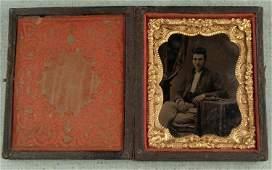 Antique Tintype Photo in Frame -Civil War Soldier