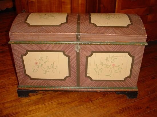 French hand painted trunk Alsace circa 1860