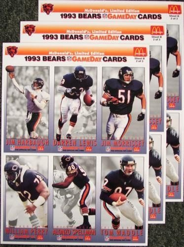 3 Chicago Bears '93 GameDay McDonalds Uncut Card Sheets