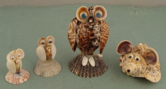 4 Seashell Animals Handmade Shell Owl, Mouse Collection