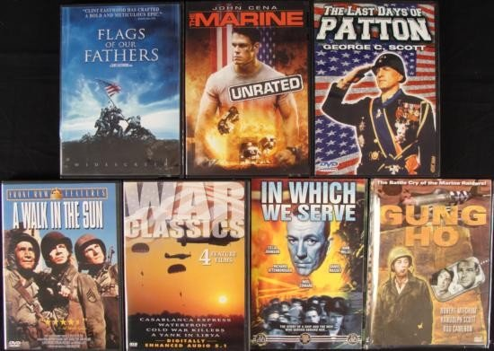 7 War Movies DVDs -Flags of our Fathers- Patton- Marine
