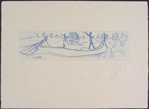 VENICE Blue Numbered LE Etching After Dali