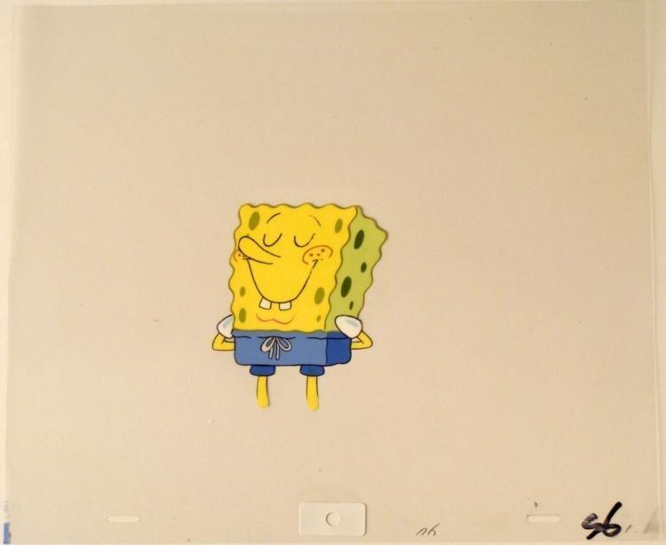SpongeBob Content Original Art Cel Production Blue Suit