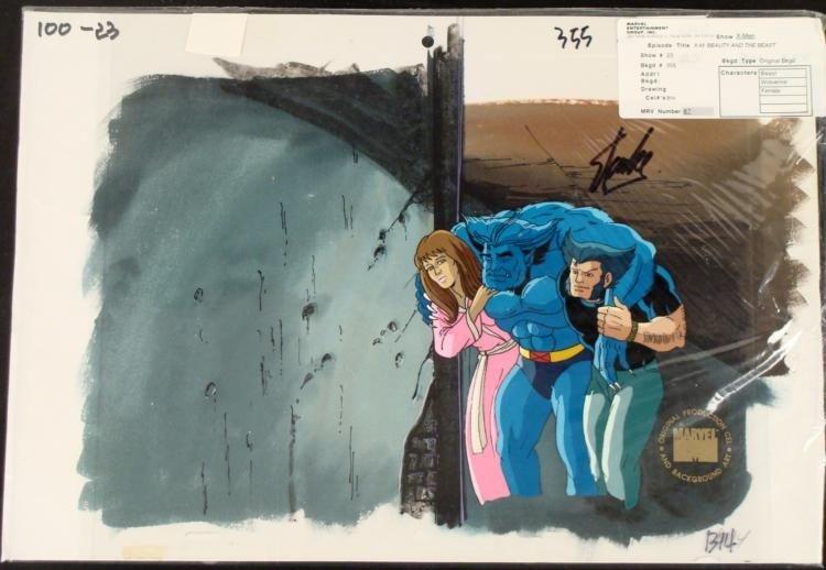 Signed Cel Background Animation Stan Lee Original X-Men