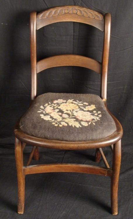 Antique Walnut Victorian Chair -Needlepoint Seat 1860