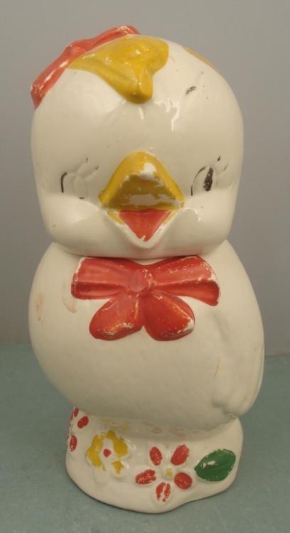 Chicken Vintage Cookie Jar Ceramic w/ Red Bowtie