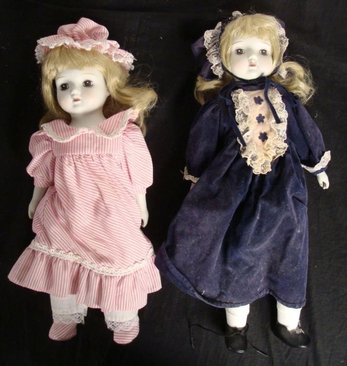 2 Dolls Pink & Purple Dresses Music Box Bisque