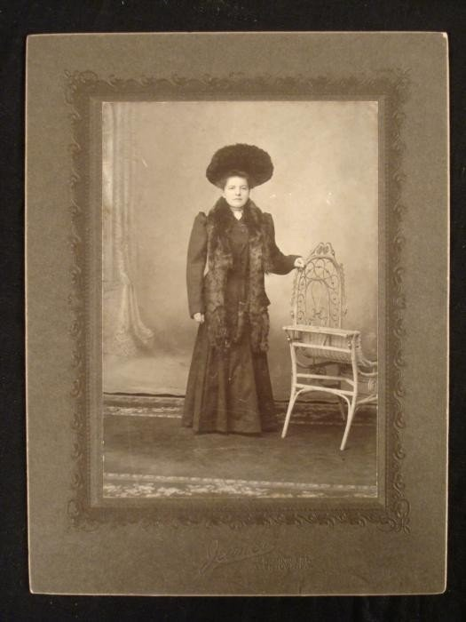 Elegant Woman in Furs and Hat Antique Photograph 1880s