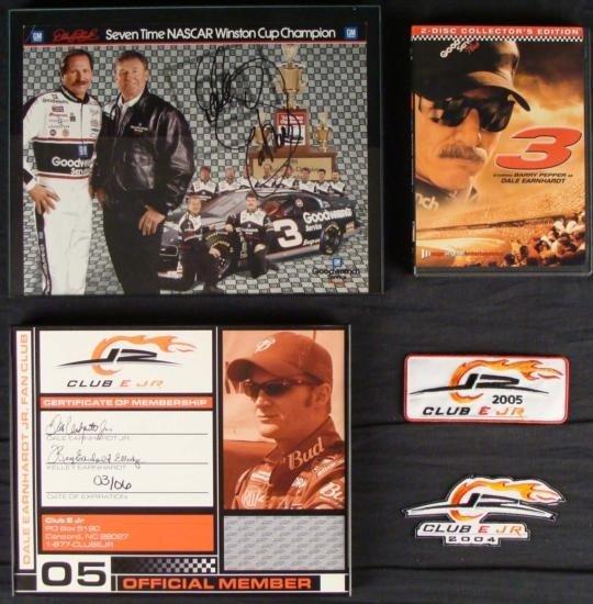 Lot 5 Dale Earnhardt Sr. + Jr. NASCAR Signed Photo, DVD