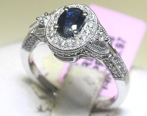 Michael Christoff Blue Sapphire & Diamond 14K Ring Sz 7