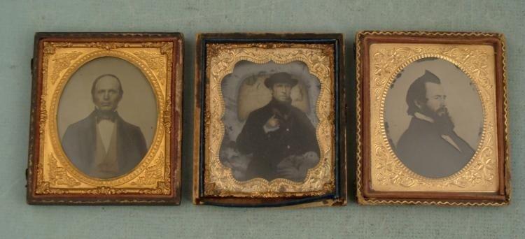 3 Antique Daguerreotype Photos Men in Cases