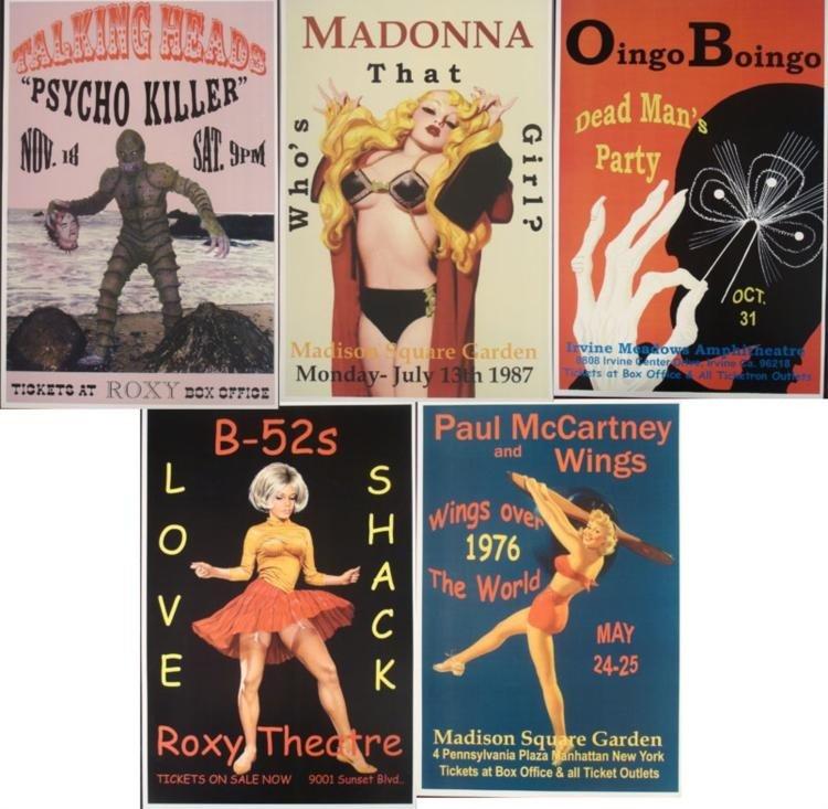 5 Concert Posters New Wave Madonna B-52's Oingo Boingo